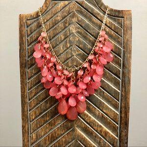 Pink Bead Statement Bib Necklace